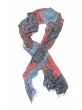Red/Denim Virgin Wool Edward Armah Scarf