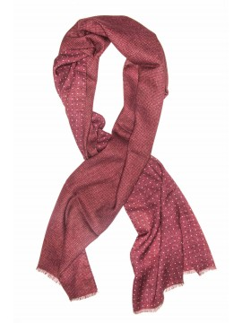 Bordeaux/White Dots Virgin Wool Edward Armah Reversible Scarf