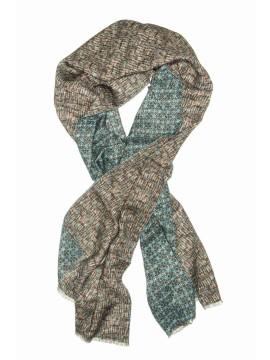 Teal/Beige Floral/Dots Virgin Wool Edward Armah Reversible Scarf