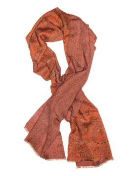 Orange Paisley Virgin Wool Edward Armah Reversible Scarf