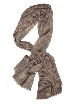 Brown Paisley Virgin Wool Edward Armah Reversible Scarf