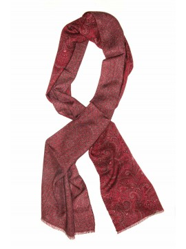 Red Paisley Virgin Wool Edward Armah Reversible Scarf