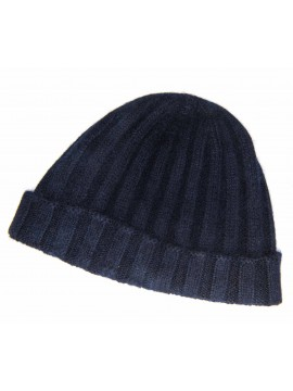 SOLID NAVY CASHMERE EDWARD ARMAH KNIT SKULL CAP/BEANIE