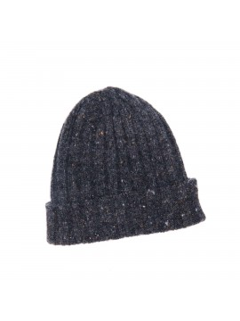 DARK GRAY VIRGIN WOOL/CASHMERE DONEGAL EDWARD ARMAH KNIT SKULL CAP/BEANIE