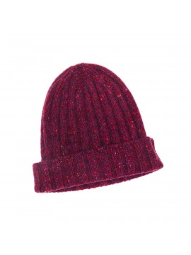 BORDEAUX VIRGIN WOOL/CASHMERE DONEGAL EDWARD ARMAH KNIT SKULL CAP/BEANIE
