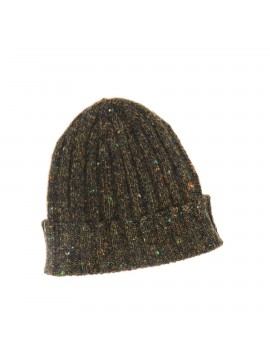 OLIVE VIRGIN WOOL/CASHMERE DONEGAL EDWARD ARMAH KNIT SKULL CAP/BEANIE