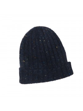 BLACK VIRGIN WOOL/CASHMERE DONEGAL EDWARD ARMAH KNIT SKULL CAP/BEANIE