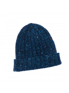 NAVY VIRGIN WOOL/CASHMERE DONEGAL EDWARD ARMAH KNIT SKULL CAP/BEANIE