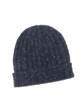 DARK GREY VIRGIN WOOL/CASHMERE DONEGAL EDWARD ARMAH KNIT SKULL CAP/BEANIE