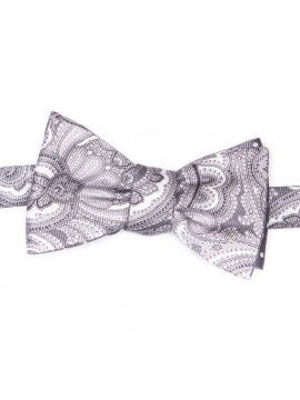 Grey/White Paisley/Dots Reversible Bow Tie