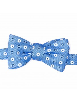 Blue Neat/Floral Reversible Bow Tie