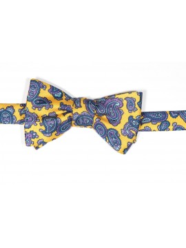 Yellow/Navy Paisley Pines/ Floral Print Reversible Bow Tie
