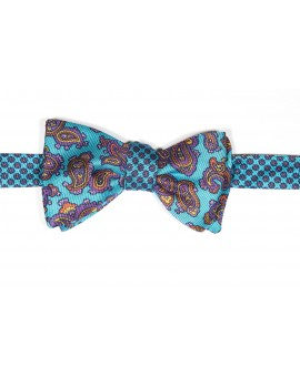 Turquoise/Orange Paisley Pines/ Floral Print Reversible Bow Tie