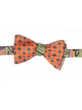 Orange/Purple Tapestry Paisley/ Floral Print Reversible Bow Tie