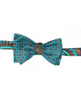 Turquoise/Orange Tapestry Paisley Print Reversible Bow Tie