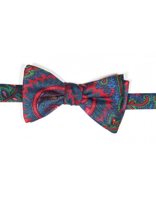Red/True Blue Tapestry Paisley Print Reversible Bow Tie