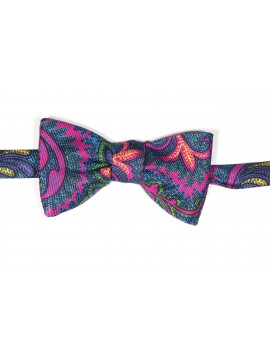 Fuchsia/Periwinkle Tapestry Paisley Print Reversible Bow Tie