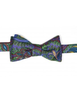 Purple/Apple Tapestry Paisley Print Reversible Bow Tie