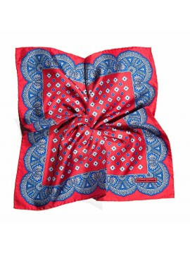 Coral/True Blue Neat/Scallop Border Print Pocket Square